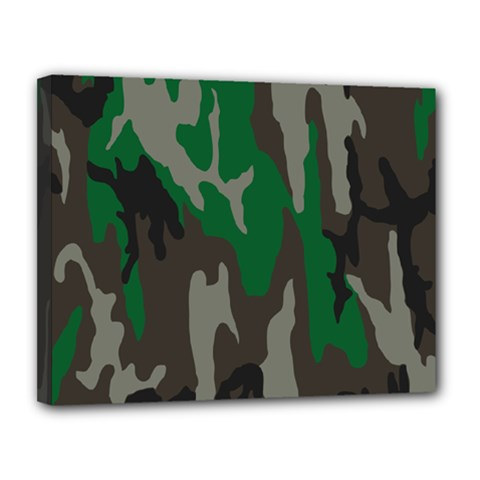 Army Green Camouflage Canvas 14  X 11