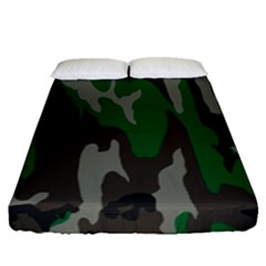 Army Green Camouflage Fitted Sheet (queen Size)