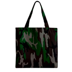 Army Green Camouflage Zipper Grocery Tote Bag by BangZart