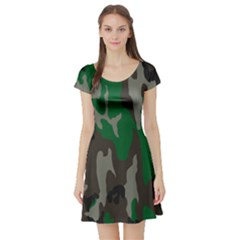 Army Green Camouflage Short Sleeve Skater Dress