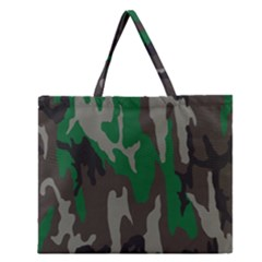 Army Green Camouflage Zipper Large Tote Bag