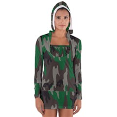 Army Green Camouflage Women s Long Sleeve Hooded T Shirt