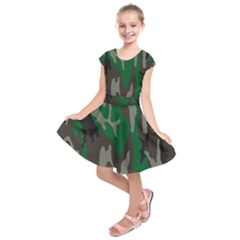 Army Green Camouflage Kids  Short Sleeve Dress
