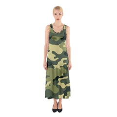 Camouflage Camo Pattern Sleeveless Maxi Dress
