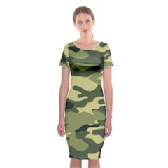 Camouflage Camo Pattern Classic Short Sleeve Midi Dress