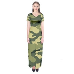 Camouflage Camo Pattern Short Sleeve Maxi Dress