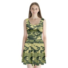 Camouflage Camo Pattern Split Back Mini Dress
