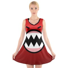 Funny Angry V Neck Sleeveless Skater Dress