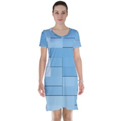 Blue Squares Iphone 5 Wallpaper Short Sleeve Nightdress