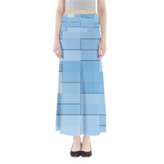Blue Squares Iphone 5 Wallpaper Full Length Maxi Skirt