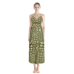 Aligator Skin Button Up Chiffon Maxi Dress