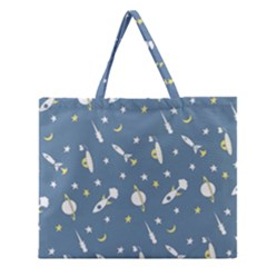 Space Rockets Pattern Zipper Large Tote Bag by BangZart