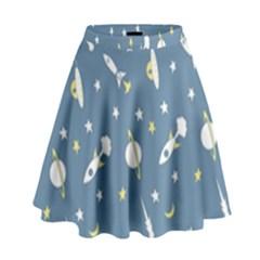 Space Rockets Pattern High Waist Skirt by BangZart