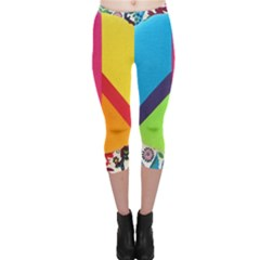 Peace Sign Animals Pattern Capri Leggings