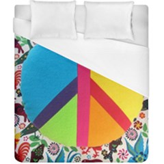 Peace Sign Animals Pattern Duvet Cover (california King Size) by BangZart