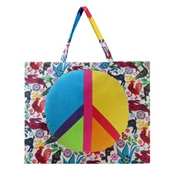 Peace Sign Animals Pattern Zipper Large Tote Bag