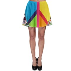 Peace Sign Animals Pattern Skater Skirt
