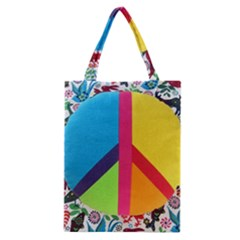 Peace Sign Animals Pattern Classic Tote Bag by BangZart