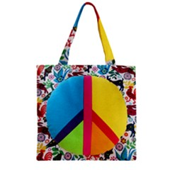 Peace Sign Animals Pattern Zipper Grocery Tote Bag by BangZart