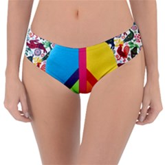 Peace Sign Animals Pattern Reversible Classic Bikini Bottoms