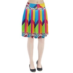 Peace Sign Animals Pattern Pleated Skirt
