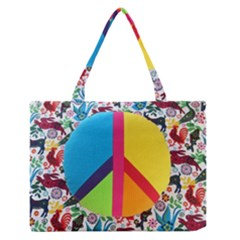 Peace Sign Animals Pattern Medium Zipper Tote Bag