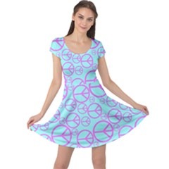 Peace Sign Backgrounds Cap Sleeve Dresses