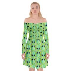 Alien Pattern Off Shoulder Skater Dress