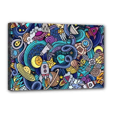 Cartoon Hand Drawn Doodles On The Subject Of Space Style Theme Seamless Pattern Vector Background Canvas 18  X 12