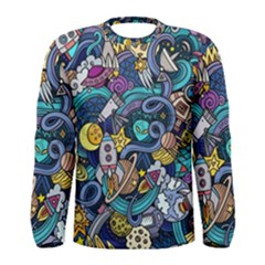 Cartoon Hand Drawn Doodles On The Subject Of Space Style Theme Seamless Pattern Vector Background Men s Long Sleeve Tee