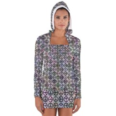 Peace Pattern Women s Long Sleeve Hooded T Shirt