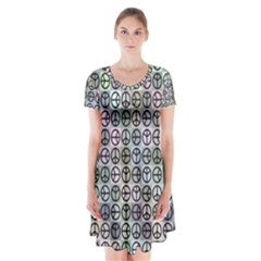 Peace Pattern Short Sleeve V Neck Flare Dress