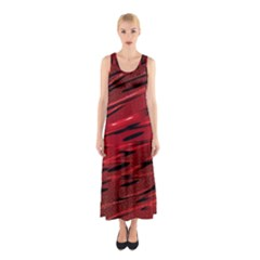 Alien Sine Pattern Sleeveless Maxi Dress