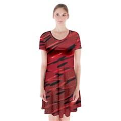 Alien Sine Pattern Short Sleeve V Neck Flare Dress