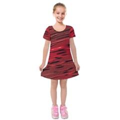 Alien Sine Pattern Kids  Short Sleeve Velvet Dress