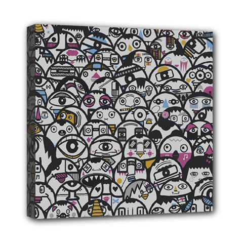 Alien Crowd Pattern Mini Canvas 8  X 8  by BangZart