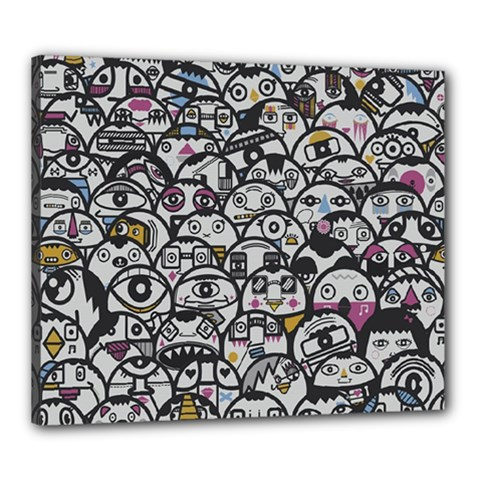 Alien Crowd Pattern Canvas 24  X 20  by BangZart