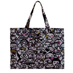 Alien Crowd Pattern Zipper Mini Tote Bag by BangZart