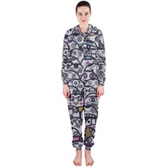Alien Crowd Pattern Hooded Jumpsuit (ladies)