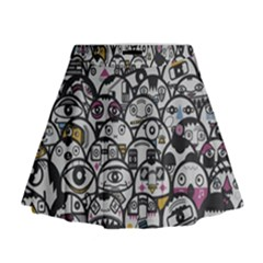 Alien Crowd Pattern Mini Flare Skirt