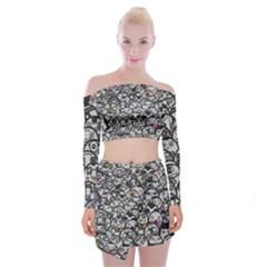 Alien Crowd Pattern Off Shoulder Top With Skirt Set