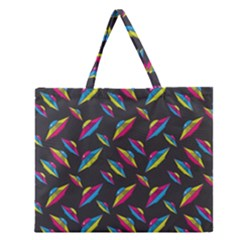 Alien Patterns Vector Graphic Zipper Large Tote Bag by BangZart