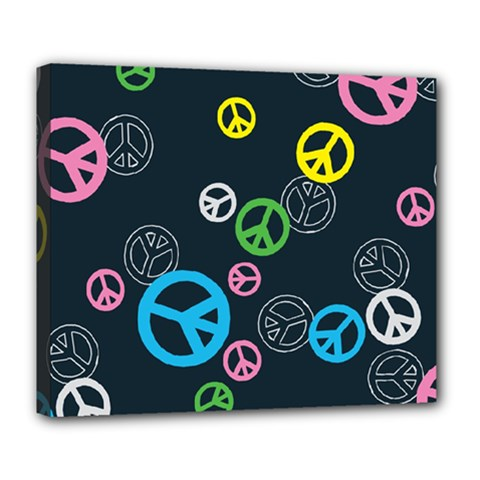 Peace & Love Pattern Deluxe Canvas 24  X 20   by BangZart