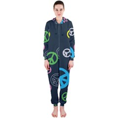 Peace & Love Pattern Hooded Jumpsuit (ladies)  by BangZart