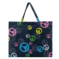 Peace & Love Pattern Zipper Large Tote Bag by BangZart