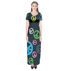 Peace & Love Pattern Short Sleeve Maxi Dress by BangZart