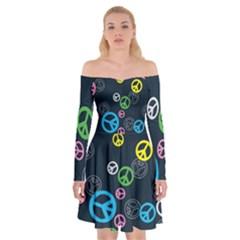 Peace & Love Pattern Off Shoulder Skater Dress