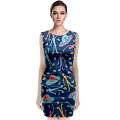 Alien Pattern Blue Classic Sleeveless Midi Dress