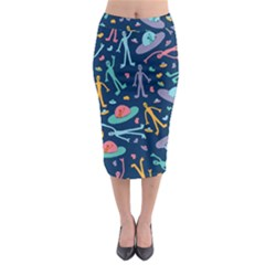 Alien Pattern Blue Midi Pencil Skirt by BangZart