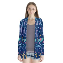 Alien Pattern Blue Drape Collar Cardigan
